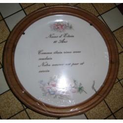 """Assiette porcelaine """"noces d'étain 10 ans de mariage""""+ Cadre Bois pour suspendre Offert Neuve"""