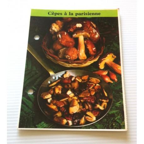 """FICHE CUISINE de ELLE vintage rétro par Madeleine Peter """" cèpes à la parisienne """" collection occasion"""