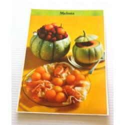 """FICHE CUISINE de ELLE vintage rétro par Madeleine Peter """" melons """" collection occasion"""
