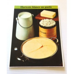 """FICHE CUISINE de ELLE vintage rétro par Madeleine Peter """" Haricots blancs en purée """" collection occasion"""