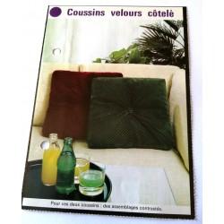 """FICHE MAISON de ELLE vintage rétro par Jacqueline Chaumont """" coussins velours côtelé """" collection occasion"""