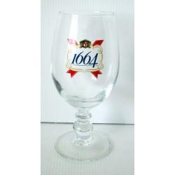 """Verre a bière sur pied """"1664"""" 25 cl gradué très bon état collection occasion"""