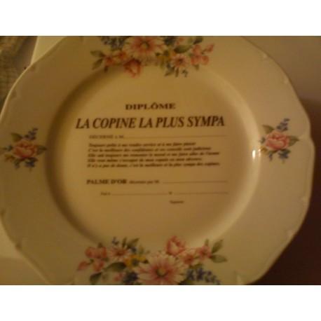 """Assiette déco porcelaine """" diplôme la copine la plus sympa """" neuve"""