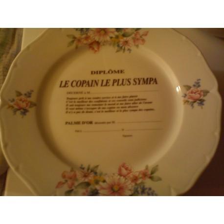 """Assiette déco porcelaine """" diplôme le copain le plus sympa """" idée cadeau original anniversaire neuve"""