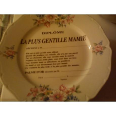 """Assiette déco porcelaine """" diplôme la plus gentille mamie """" neuve"""