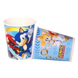 Lot de 8 Gobelets verres en carton jetable Sonic 220 ml enfant anniversaire fête neuf