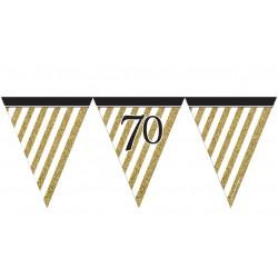 Guirlande à fanions noir et or 70 ans 3,7 m décoration de salle ou maison neuve