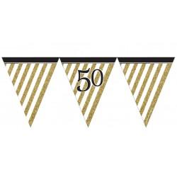 Guirlande à fanions noir et or 50 ans 3,7 m décoration de salle maison anniversaire neuve