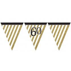 Guirlande à fanions noir et or 60 ans 3,7 m décoration de salle maison anniversaire neuve