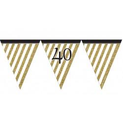 Guirlande à fanions noir et or 40 ans 3,7 m décoration de salle maison anniversaire neuve