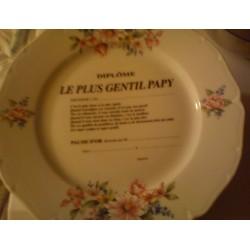 """Assiette déco porcelaine """" diplôme le plus gentil papy """" idée cadeau original fête grand père anniversaire retraite neuve"""