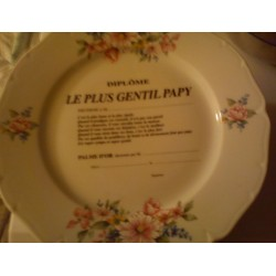 """Assiette déco porcelaine """" diplôme le plus gentil papy """" idée cadeau original neuve"""