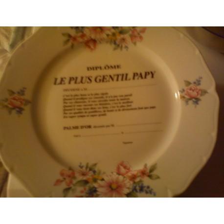 """Assiette déco porcelaine """" diplôme le plus gentil papy """" neuve"""