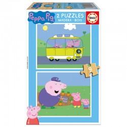 Lot de 2 Puzzles Peppa Pig 2x9 pièces en bois spéciale petits EDUCA licence officielle idée cadeau anniversaire noël neuf