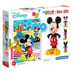 Puzzle 3D Mickey Super Color + puzzle 104 pièces inclus licence officielle Disney CLEMENTONI idée cadeau anniversaire noël neuf