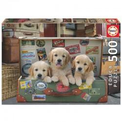 Puzzle 3 chiots dans une valise vintage 500 pièces licence officielle Edition EDUCA BORRAS idée cadeau anniversaire noël neuf