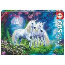 Puzzle 500 pièces 2 licornes dans la forêt licence officielle Edition EDUCA BORRAS idée cadeau anniversaire noël neuf