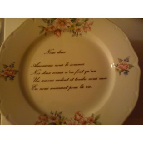 """Assiette déco porcelaine """" nous deux """" neuve"""