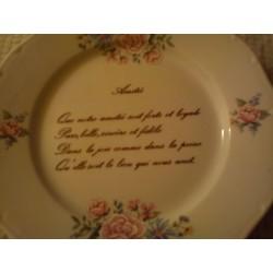 """Assiette déco porcelaine """" amitié """" neuve"""
