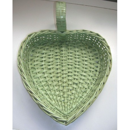 petit panier déco motif coeur vert en osier bon état