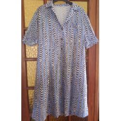 Robe longue femme acrylique rayé manche courte taille 42/44