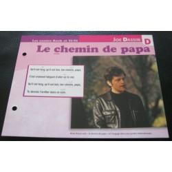 """FICHE FASCICULE """" PAROLES DE CHANSONS """" JOE DASSIN le chemin de papa 1969"""