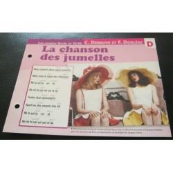 """FICHE FASCICULE """" PAROLES DE CHANSONS """" C. DENEUVE ET F. DORLEAC la chanson des jumelles 1966"""