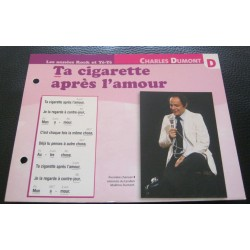 """FICHE FASCICULE """" PAROLES DE CHANSONS """" CHARLES DUMONT ta cigarette après l'amour 1968"""