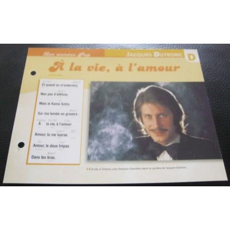 """FICHE FASCICULE """" PAROLES DE CHANSONS """" JACQUES DUTRONC a la vie a l'amour 1970"""