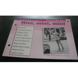 """FICHE FASCICULE """" PAROLES DE CHANSONS """"JACQUES DUTRONC mini , mini , mini 1966"""