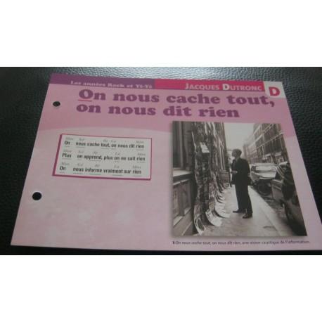 """FICHE FASCICULE """" PAROLES DE CHANSONS """"JACQUES DUTRONC on nous cache tout,on nous dit rien 1966"""
