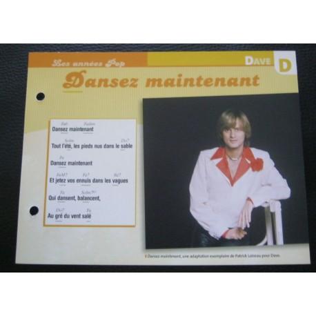 """FICHE FASCICULE """" PAROLES DE CHANSONS """" DAVE dansez maintenant 1975"""