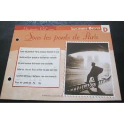 """FICHE FASCICULE """" PAROLES DE CHANSONS """" LUCIENNE DELYLE sous les pont de paris 1914"""