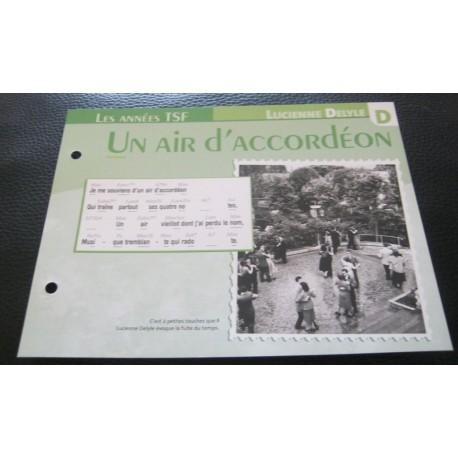 """FICHE FASCICULE """" PAROLES DE CHANSONS """" LUCIENNE DELYLE un air d'accordéon 1945"""