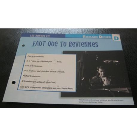 """FICHE FASCICULE """" PAROLES DE CHANSONS """" ROMAIN DIDIER faut que tu reviennes 1982"""