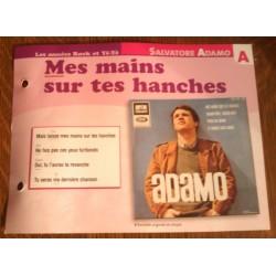 """FICHE FASCICULE """" PAROLES DE CHANSONS """" SALVATORE ADAMO mes mains sur tes hanches 1965"""