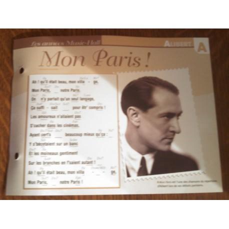 """FICHE FASCICULE """" PAROLES DE CHANSONS """" ALIBERT mon paris ! 1925"""