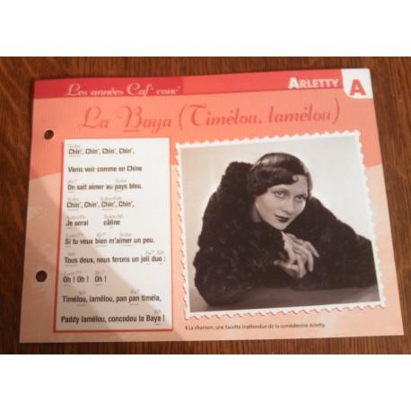 "FICHE FASCICULE "" PAROLES DE CHANSONS "" ARLETTY la baya ( timelou,lamelou ) 1911"