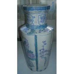 grand vase chinois ceramique hauteur 36 cm deco bleu tbe