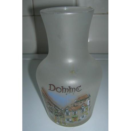 petit vase transparent opaque deco domme dordogne hauteur 13.5 cm tbe