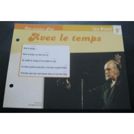 """FICHE FASCICULE """" PAROLES DE CHANSONS """" LEO FERRE avec le temps 1971"""