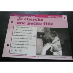 "FICHE FASCICULE "" PAROLES DE CHANSONS "" NINO FERRER je cherche une petite fille 1967"