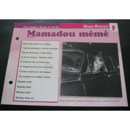 """FICHE FASCICULE """" PAROLES DE CHANSONS """" NINO FERRER mamadou mémé 1969"""