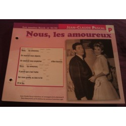 """FICHE FASCICULE """" PAROLES DE CHANSONS """" JEAN CLAUDE PASCAL nous les amoureux 1961"""