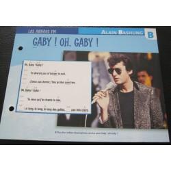 """FICHE FASCICULE """" PAROLES DE CHANSONS """" ALAIN BASHUNG Gaby ! oh, Gaby ! 1980"""