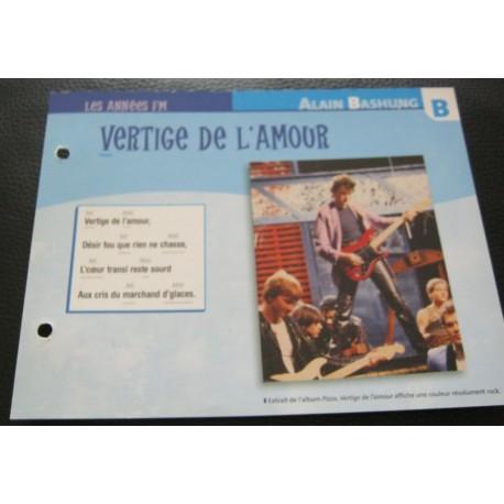 """FICHE FASCICULE """" PAROLES DE CHANSONS """" ALAIN BASHUNG vertige de l'amour 1981"""