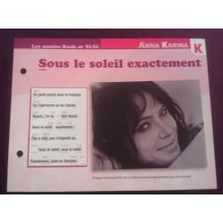"""FICHE FASCICULE """" PAROLES DE CHANSONS """" ANNA KARINA sous le soleil exactement 1966"""