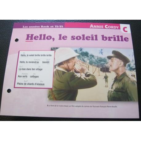"""FICHE FASCICULE """" PAROLES DE CHANSONS """" ANNIE CORDY hello, le soleil brille 1957"""