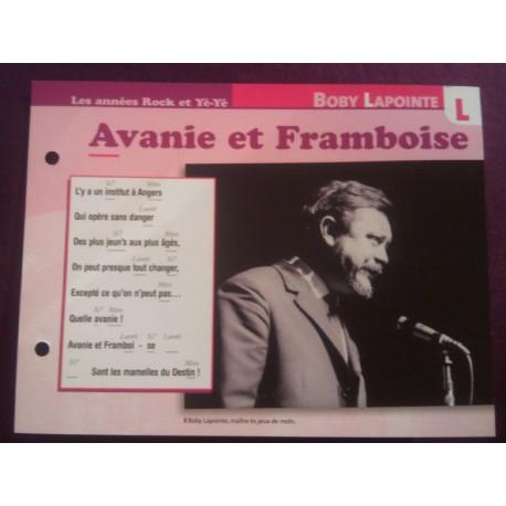 """FICHE FASCICULE """" PAROLES DE CHANSONS """" BOBY LAPOINTE avanie et framboise 1960"""