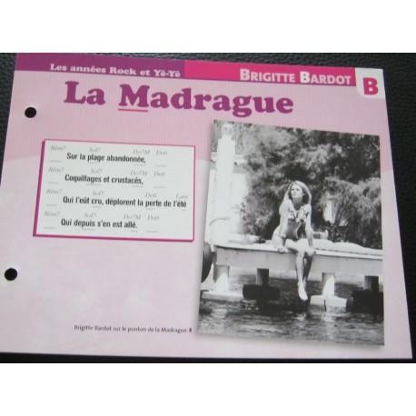 """FICHE FASCICULE """" PAROLES DE CHANSONS """" BRIGITTE BARDOT la madrague 1962"""